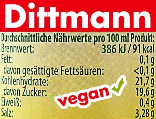 Nährwerte von Dittmann Worcestersauce