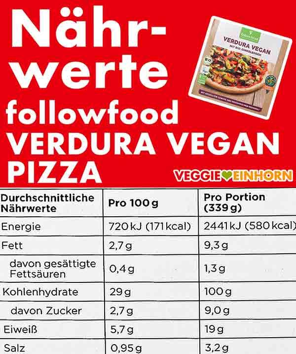 Nährwerte der veganen Pizza von followfood