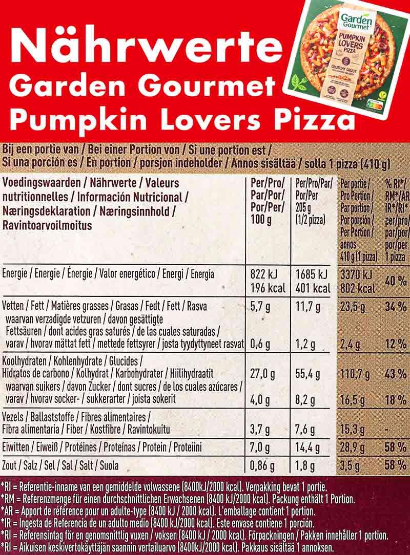 Nährwerte Tabelle der Pumpkin Lovers Pizza von Garden Gourmet