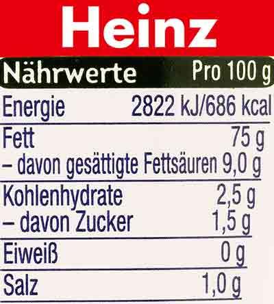 Nährwerte der veganen Mayo von Heinz