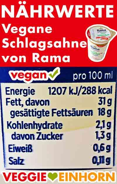 Nährwerte der veganen Schlagsahne von Rama