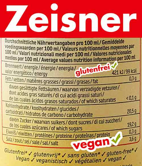 Nährwerte von Zeisner Worcestersauce