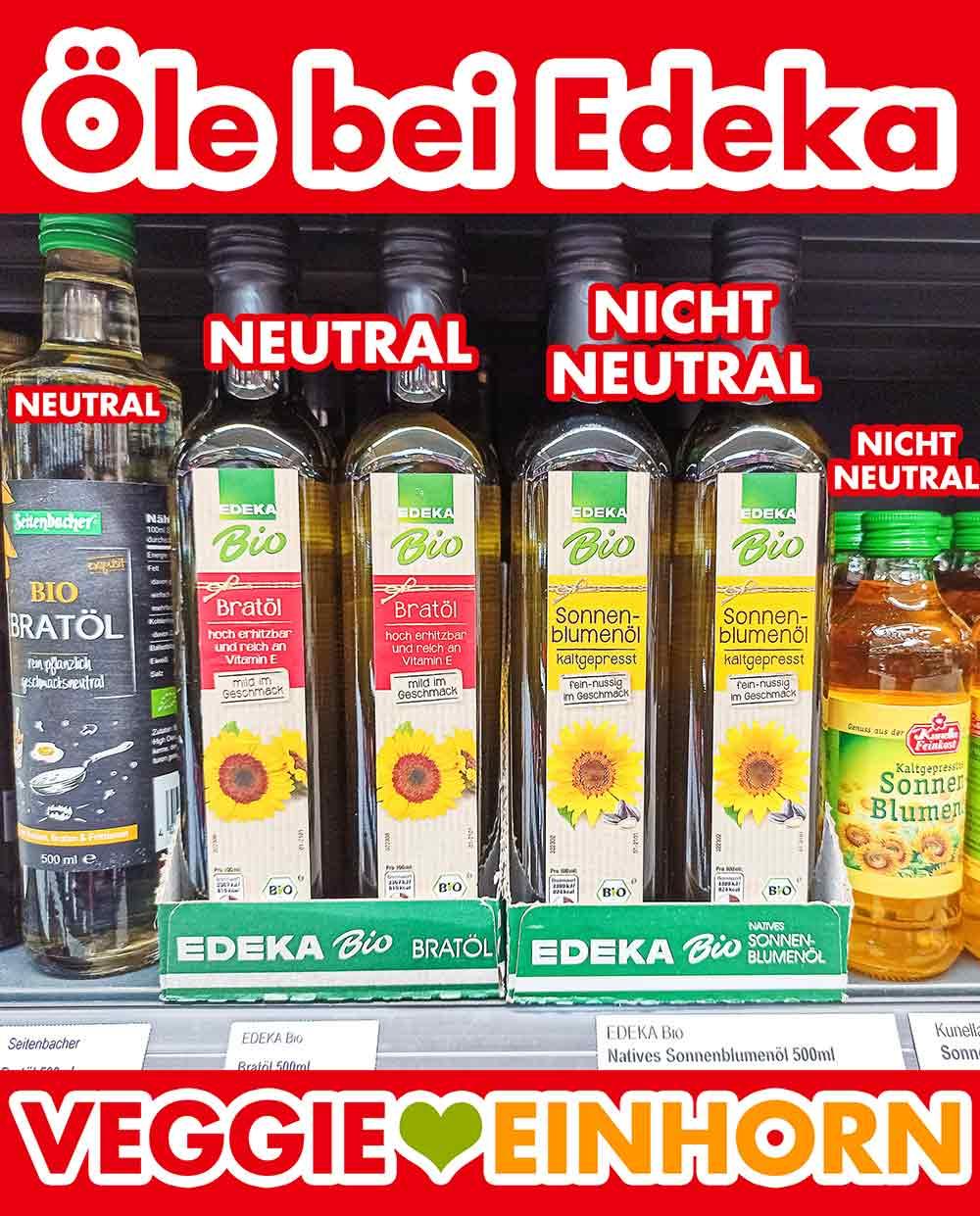 Flaschen mit Pflanzenöl im Regal bei Edeka