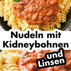 Nudeln mit Kidneybohnen auf einem Teller