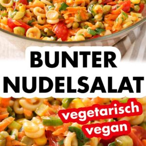 Bunter Nudelsalat mit veganer Mayonnaise