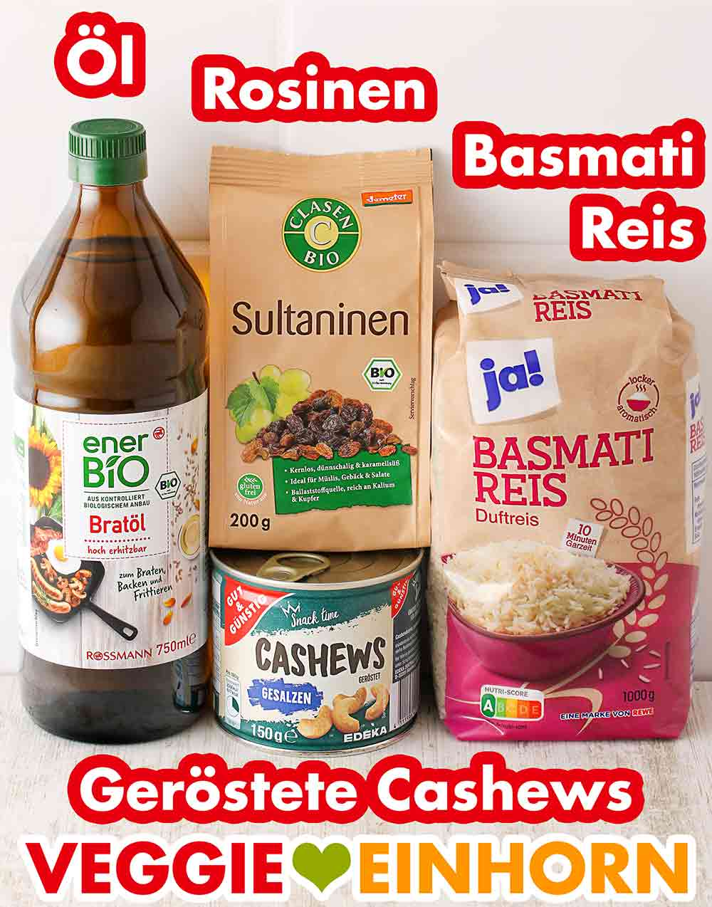 Öl, Rosinen, Basmati Reis, geröstete und gesalzene Cashews
