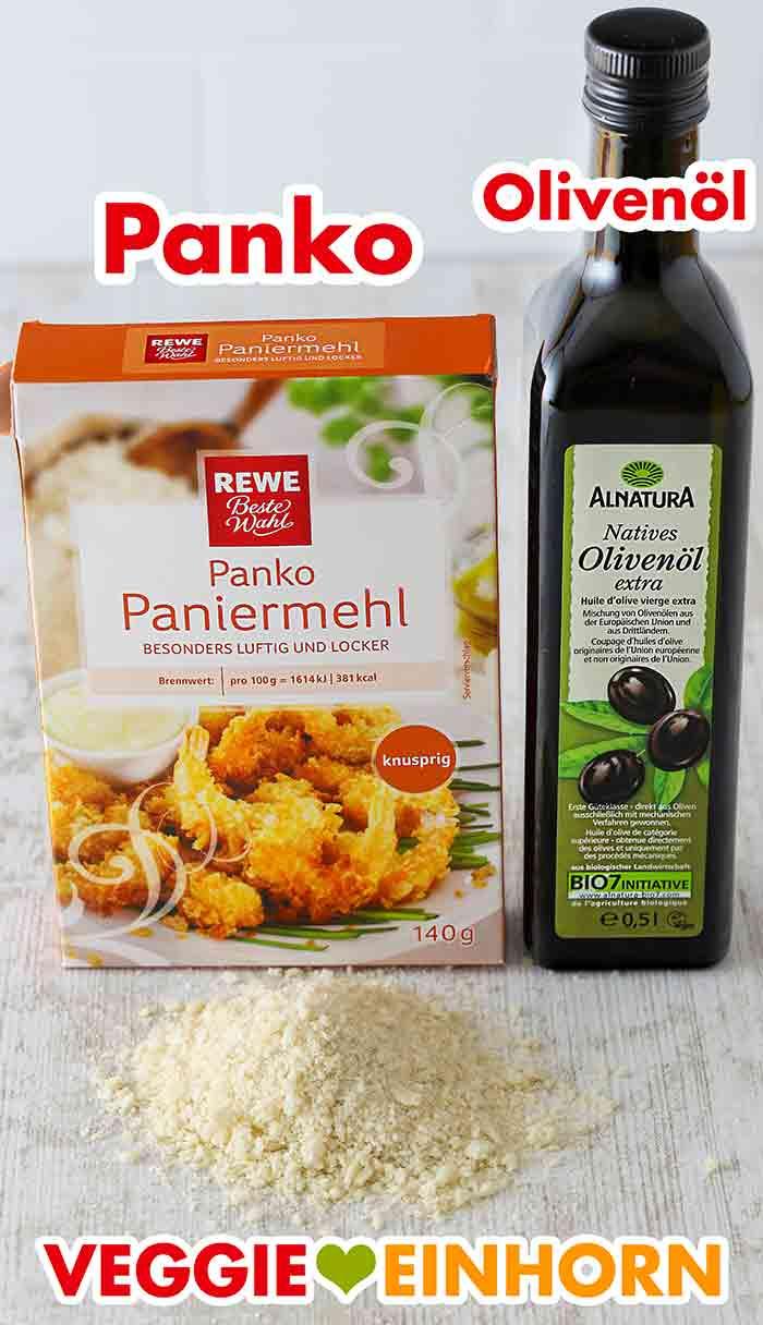Pankobrösel und Olivenöl