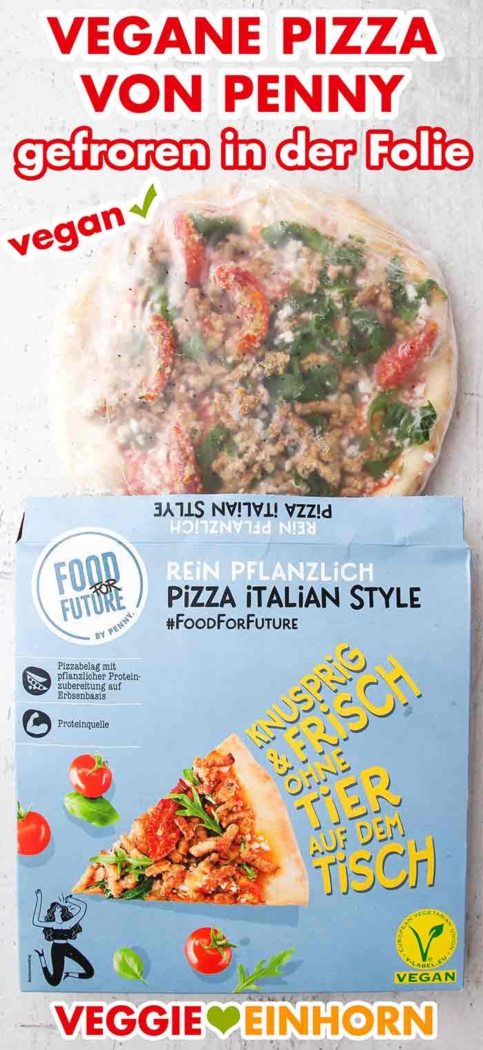 Die vegane Pizza von Penny tiefgefroren in der Plastikfolie
