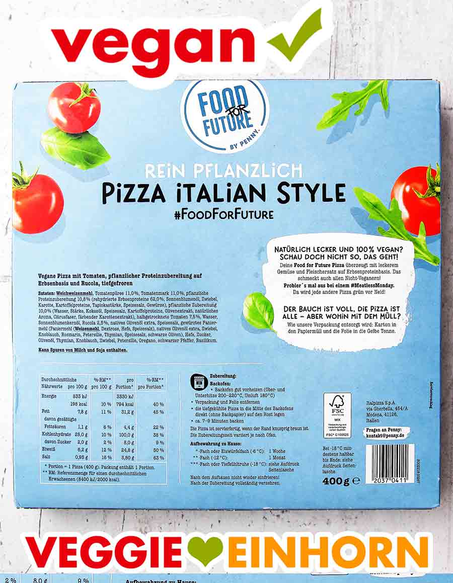 Rückseite der Verpackung der Pizza Italian Style von Penny