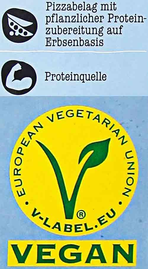 Vegan Logo auf der Pizza von Penny