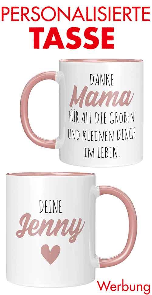 Personalisierte Tasse mit Namen als Geschenk zum Muttertag