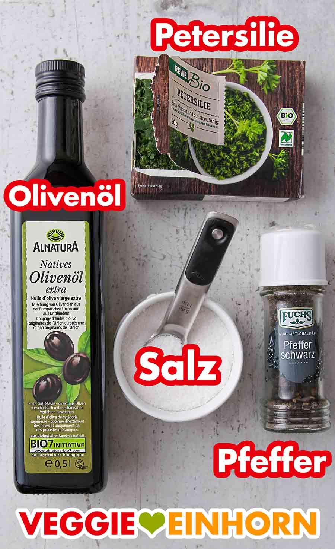 Olivenöl, Petersilie, Salz und schwarzer Pfeffer