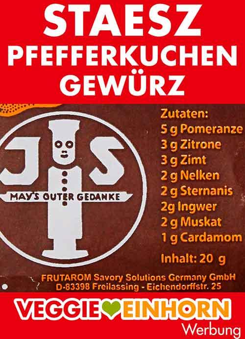 Zutatenliste von Staesz Pfefferkuchengewürz