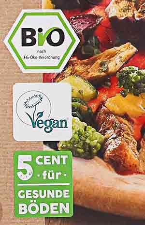 Bio Label und Vegan Zeichen auf der Packung der followfood Pizza