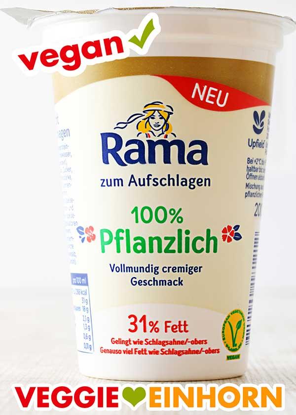 Ein Sahnebecher von Rama 100 % Pflanzlich