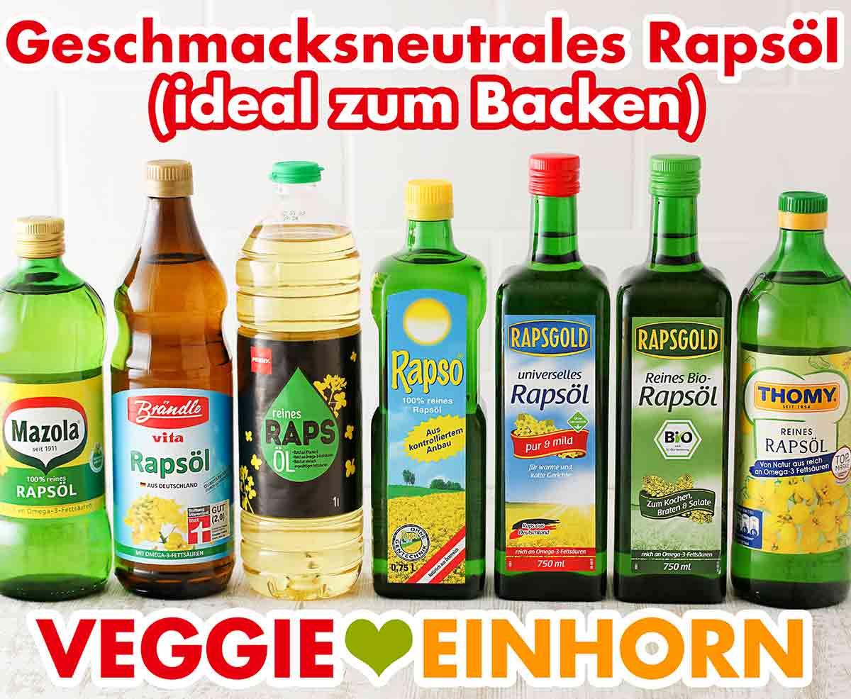 Flaschen mit neutralem Rapsöl von verschiedenen Marken
