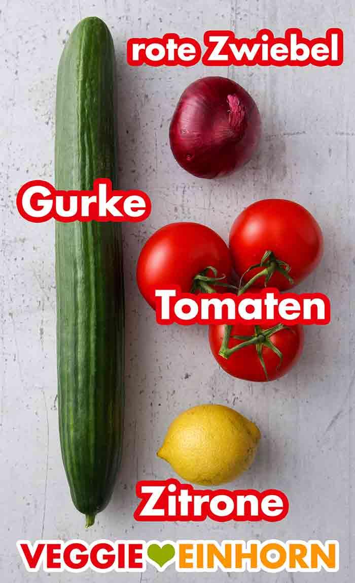 Salatgurke, rote Zwiebel, Tomaten, Zitrone