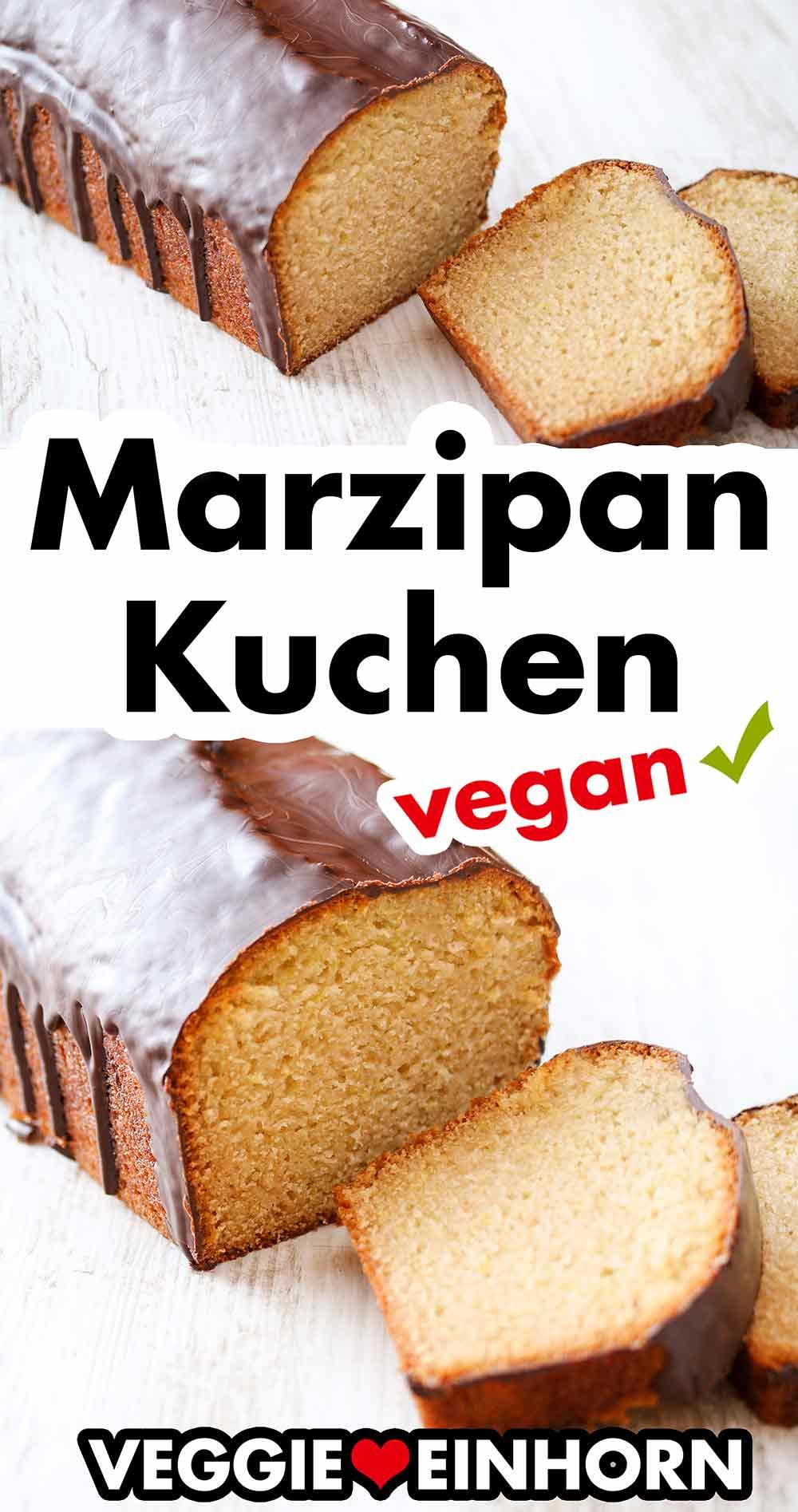 Veganer Marzipankuchen mit Schokoglasur