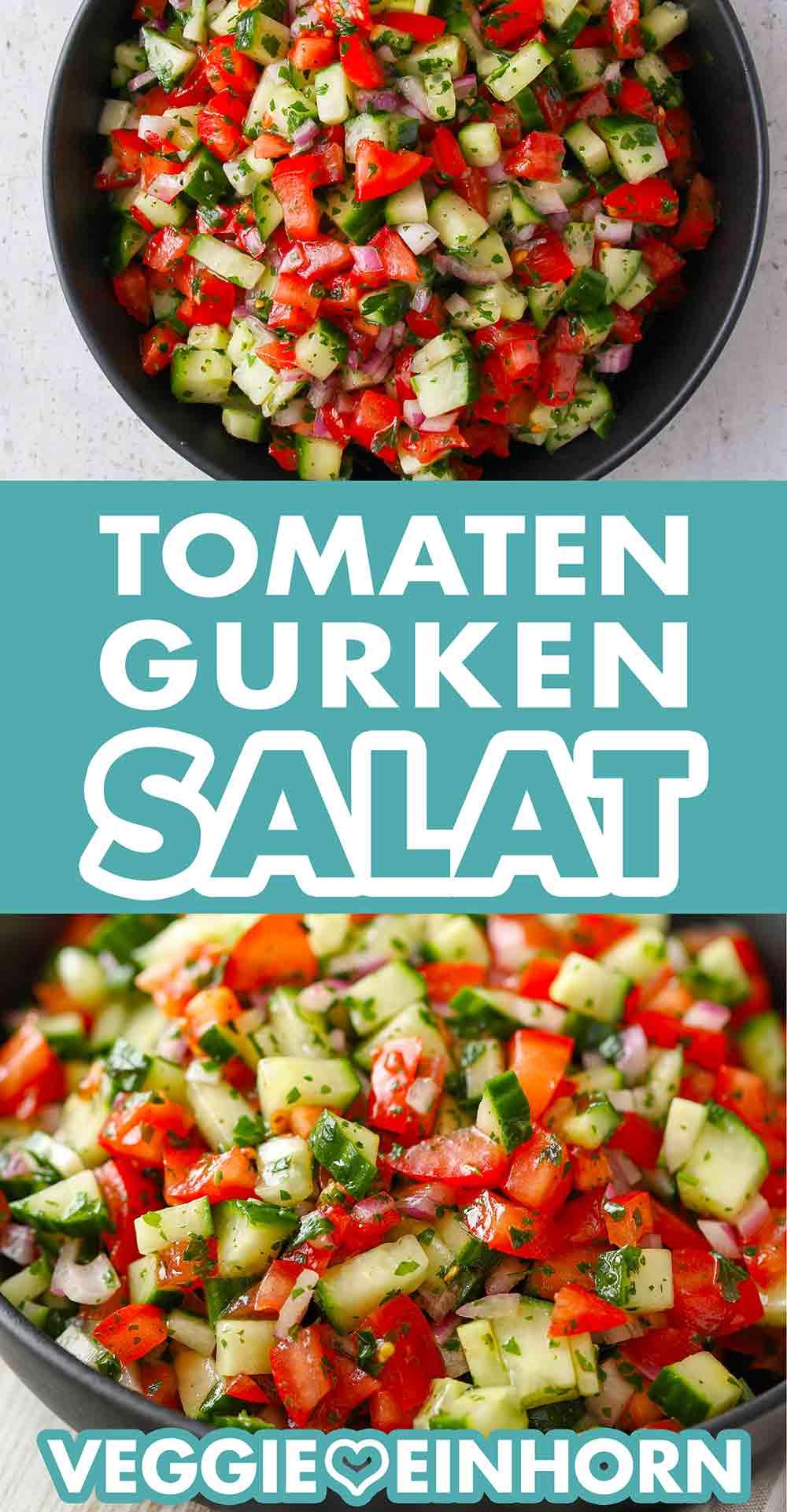 Gurkensalat mit Tomaten und roten Zwiebeln