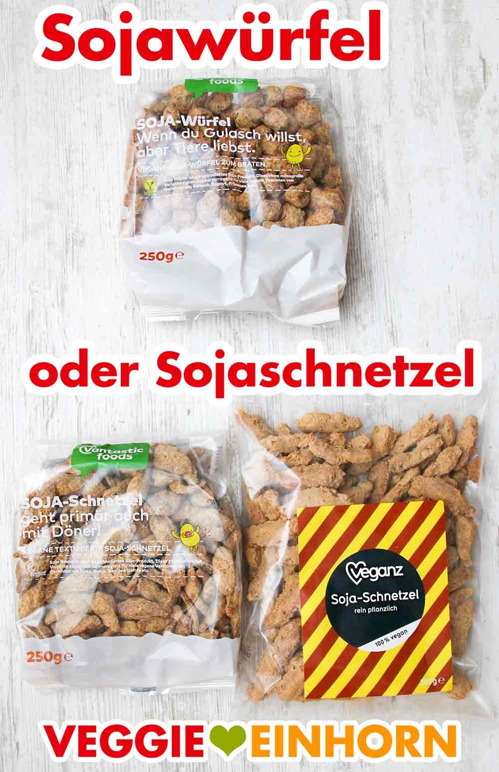 Eine Packung Sojawürfel und zwei Packungen grobe Sojaschnetzel