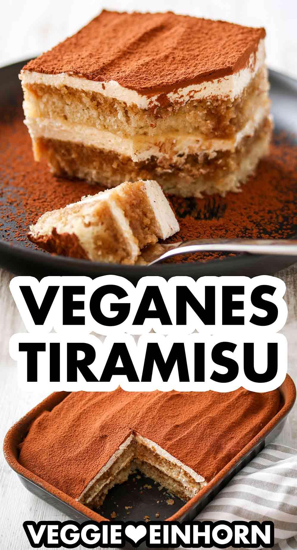 Veganes Tiramisu auf einem Teller und in einer Form