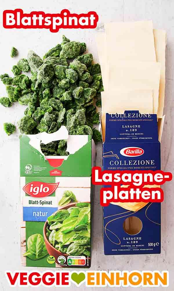 Eine Packung tiefgefrorener Spinat und eine Packung Lasagneplatten