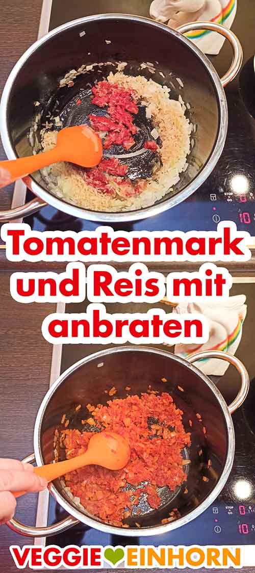 Tomatenmark und Reis im Topf