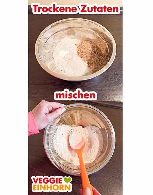 Trockene Zutaten für Osterlamm Kuchen in einer Rührschüssel