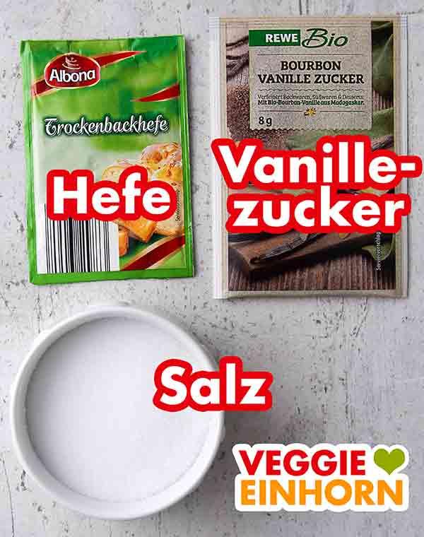 Trockenhefe, Vanillezucker und Salz