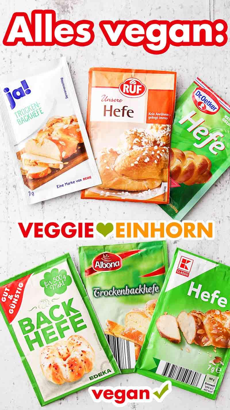 Vegane Trockenhefe Päckchen von verschiedenen Marken.