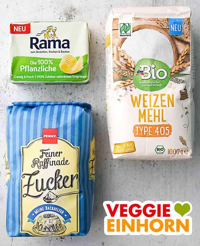 Vegane Butter, Mehl und Zucker