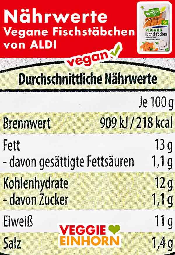 Nährwerte der veganen Fischstäbchen von Aldi