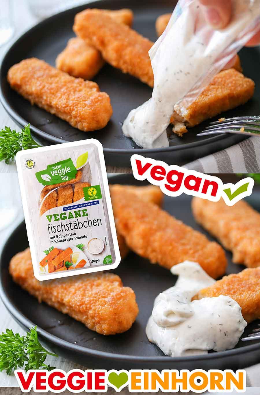 Vegane Fischstäbchen von Aldi mit veganer Remoulade