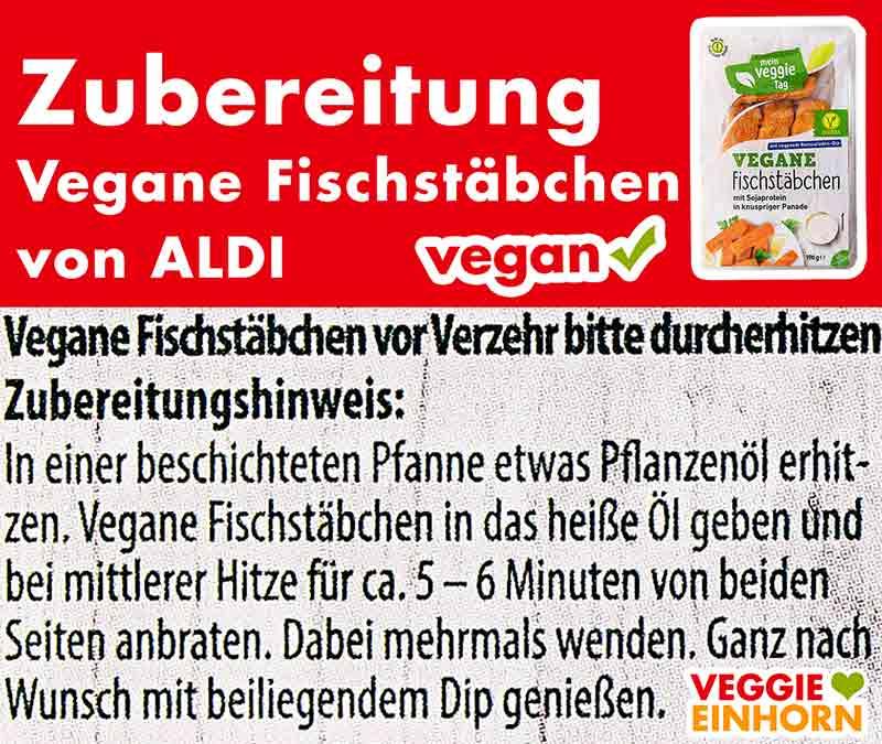 Zubereitungsanweisung der veganen Fischstäbchen von Aldi