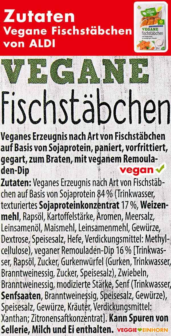 Zutaten der veganen Fischstäbchen von Aldi