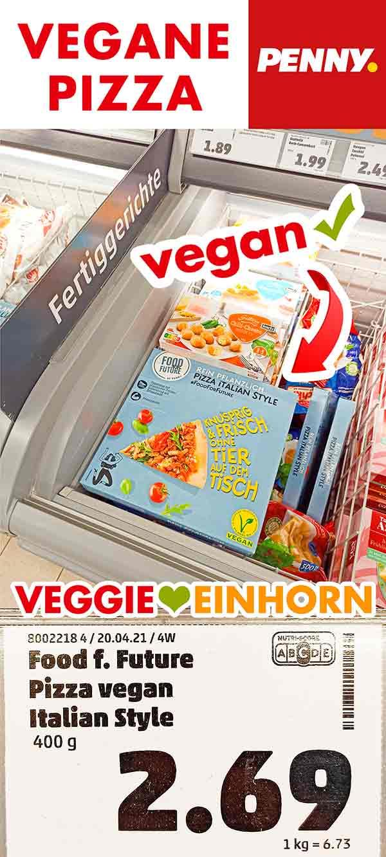 Vegane Pizza in der Tiefkühltruhe bei Penny