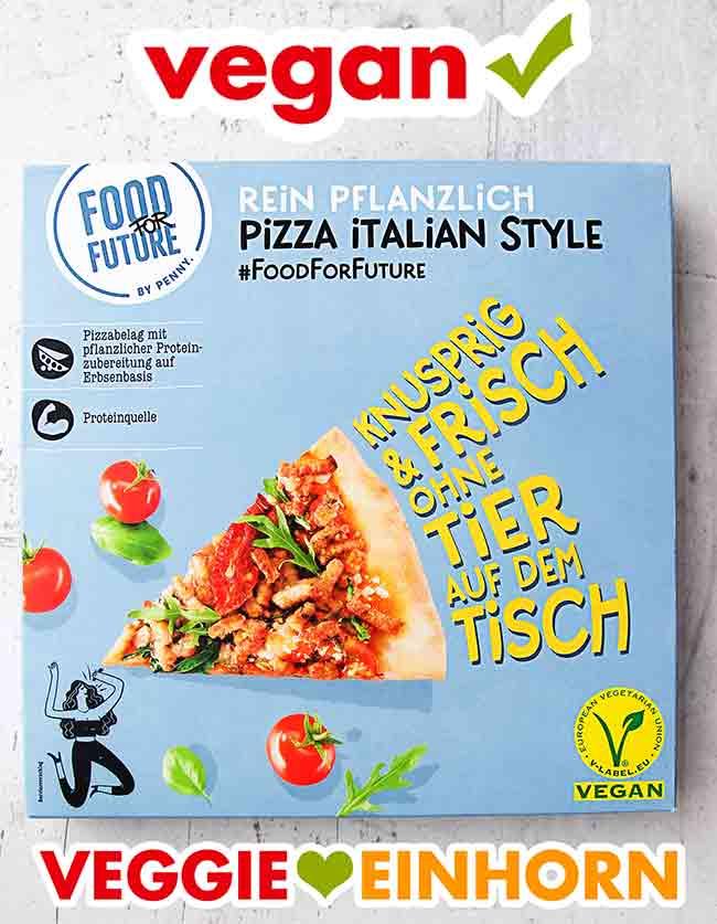 Vorderseite der Verpackung der veganen Pizza von Penny
