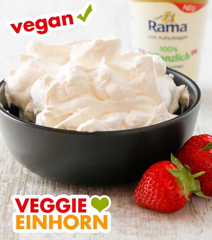 Vegane Schlagsahne von Rama in einer Schale