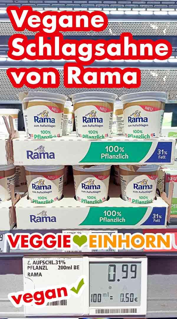 Vegane Schlagsahne von Rama im Kühlregal bei Rewe