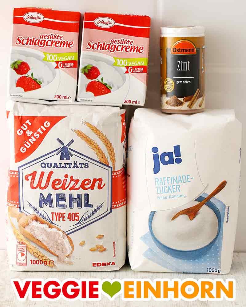 Vegane Schlagsahne, Zimt, Mehl, Zucker