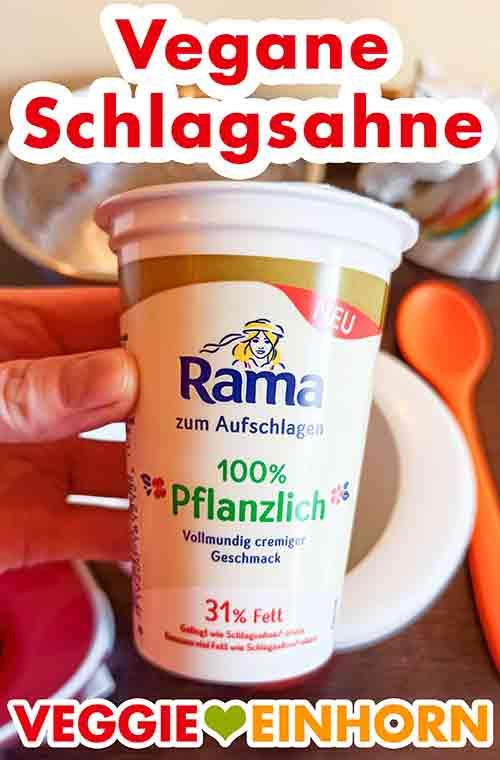 Ein Becher vegane Schlagsahne von Rama