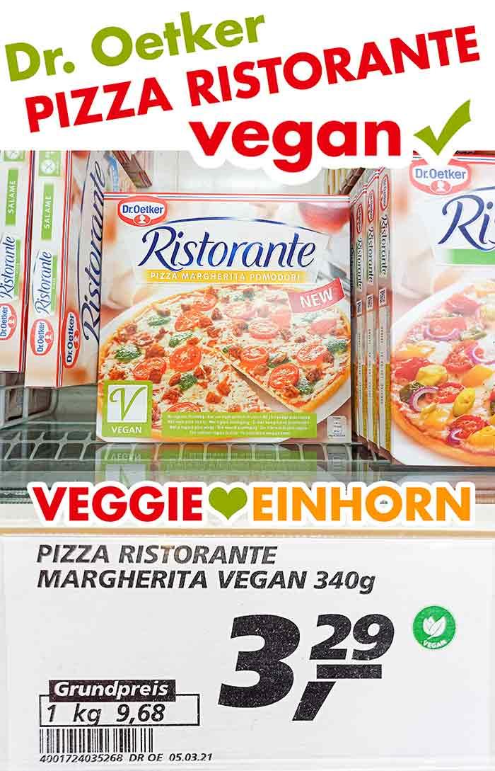 Vegane Pizza von Dr. Oetker in der Tiefkühltruhe im Supermarkt