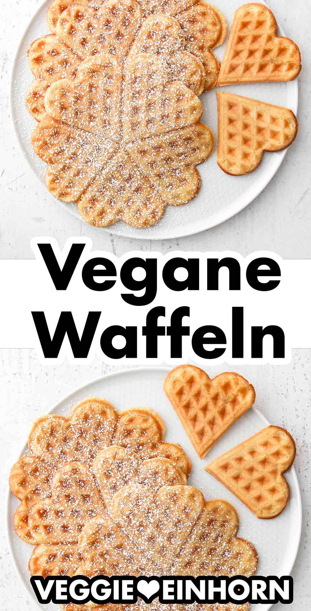 Ein Teller mit veganen Waffeln mit Puderzucker