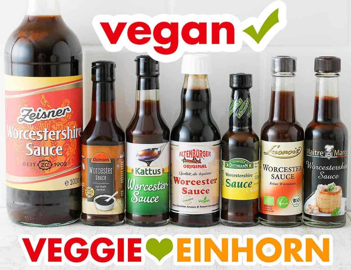 Flaschen mit veganer Worcestersauce