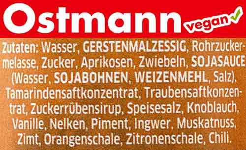Zutaten der veganen Worcestersauce von Ostmann