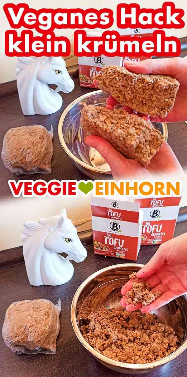 Veganes Hackfleisch zerkrümeln