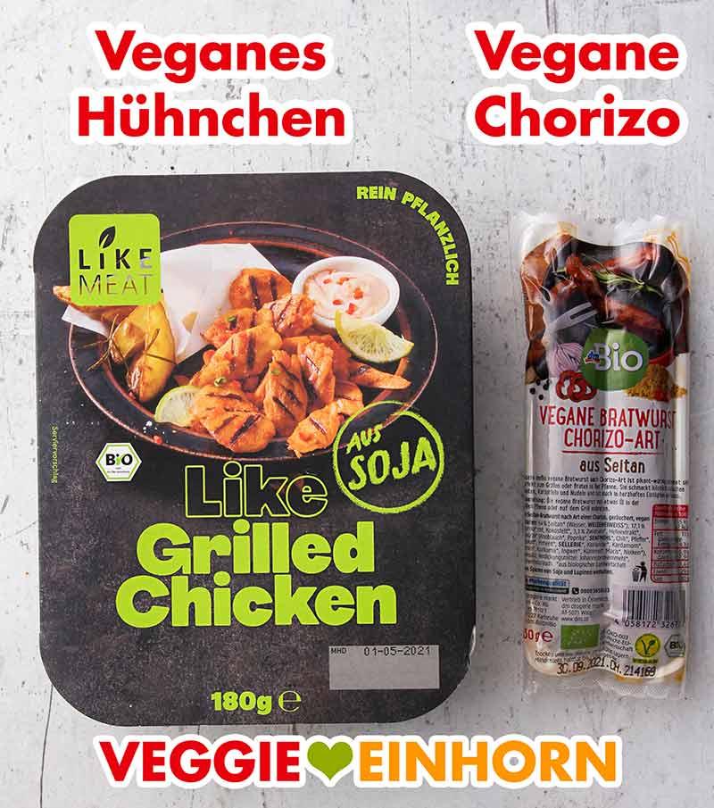 Veganes Hähnchenfleisch und vegane Chorizo Wurst