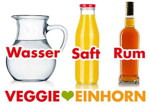 Wasser, Saft, Rum