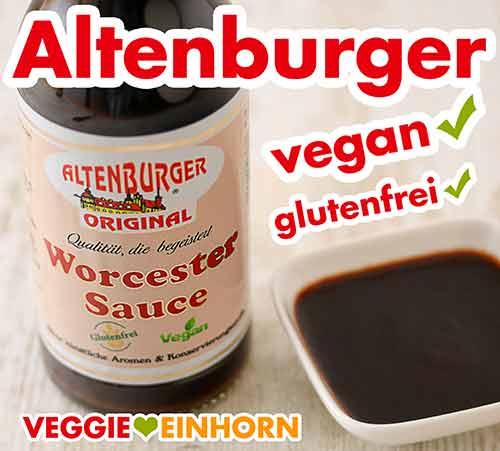 Altenburger Worcestersauce in einer Flasche und in einem Schälchen