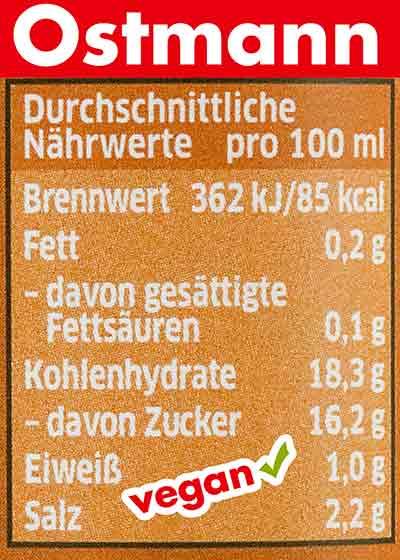 Nährwerte Ostmann Worcestersauce